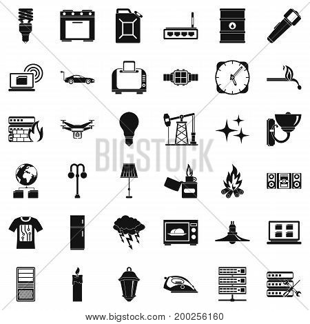 Electricity computer icons set. Simple style of 36 electricity computer vector icons for web isolated on white background