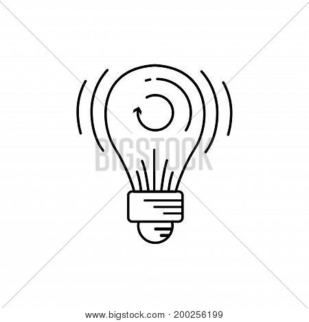 Modern thin line icon of light bulb. Premium quality outline symbol. Simple mono linear pictogram drawing art sign. Stroke logo concept for web graphics. Vector