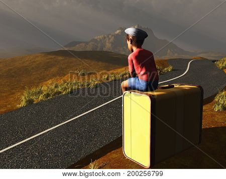3d illustration of a boy sitting in a suitcase at the edge of a road
