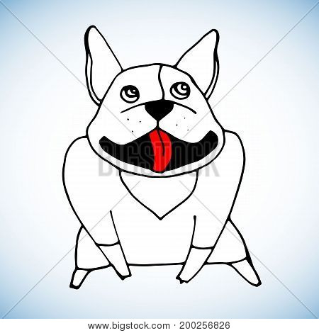 French Bulldog. Vector illustration for or poster. Print on clothes.