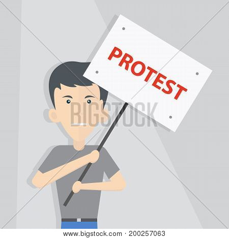 white man in a T-shirt and jeans holds a poster. Flat style, illustration, vector.
