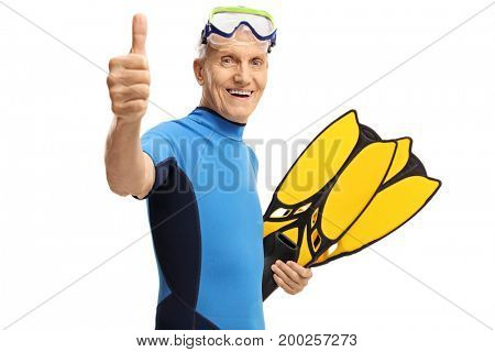 Senior with snorkeling equipment making a thumb up gesture isolated on white background