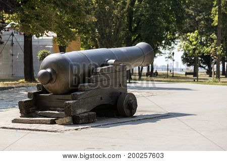 BELGRADE, SERBIA - JULY 31, 2017:An ancient cannon on the territory of the Belgrade Fortress
