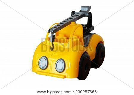 Hoisting crane toy on a white background isolated
