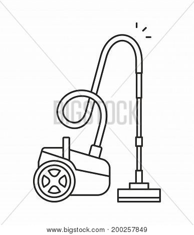 Vacuum cleaner line icon on white background. Vector illustration.