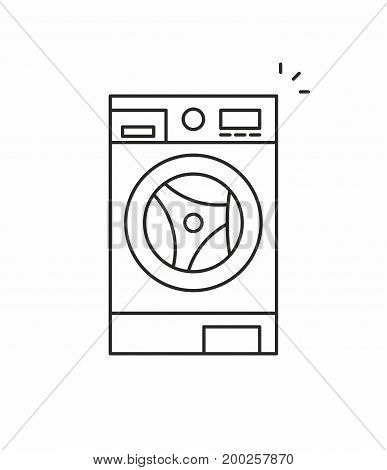 Washer line icon on white background. Vector illustration.