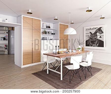modern dining room interior. 3d rendering concept