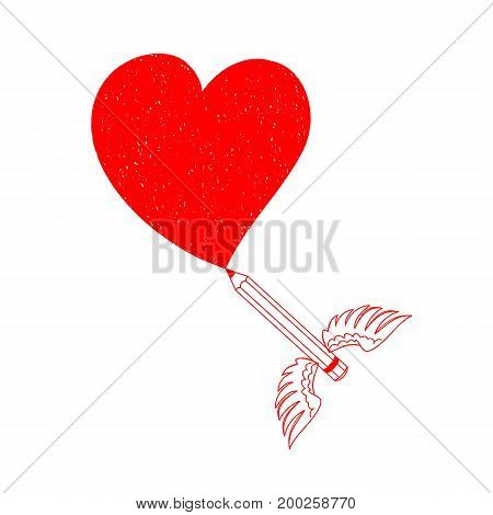 Pencil drew a heart. Vector illustration of heart. Pencil with wings. Illustration of love perfect to decorate cards for Valentine's day.