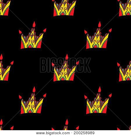 Cute seamless pattern from original crowns-candles. Hand drawn background. Perfect for printing on fabric or paper.