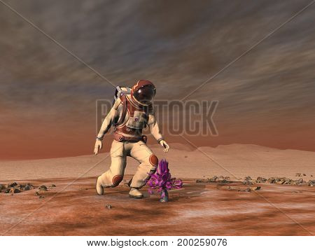 3d illustration of an astronaut finding a plant on another planet