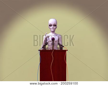 3d illustration of an alien giving a speech