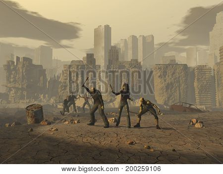 3d illustration of mutants in an apocalyptic landscape