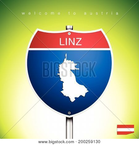 An Sign Road America Style with state of Austria with green background and message LINZ and map vector art image illustration