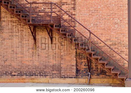Iron fire escape on a nineteenth century building