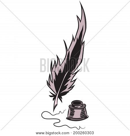 Writing pen and ink. Vector illustration. Drawing by hand