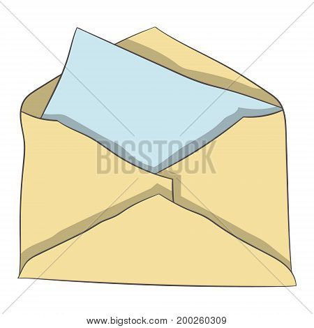 Envelope with a letter. vector illustration. Drawing by hand
