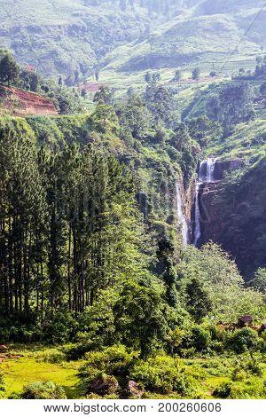 Devon Waterfall In Nuwara Eliya, Sri Lanka.