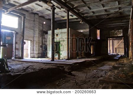 Abandoned industrial building of brick factory in Voronezh