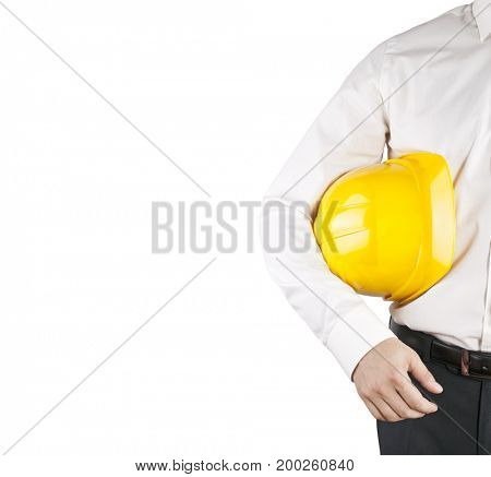 Engineer in white shirt holding yellow helmet isolated on white with clipping path