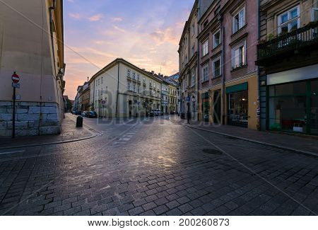 Morning crossroad in old town of Krakow Poland.