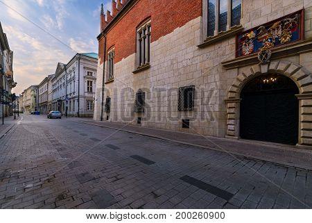 Antique doors in old town of Krakow. Poland