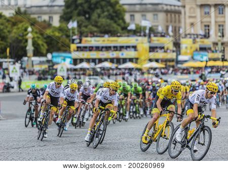 Paris France - 23 July 2017: Team Sky and Christopher Froome in Yellow Jersey riding in front of the peloton in Place de la Concorde in Paris during the last stage of Le Tour de France 2017.