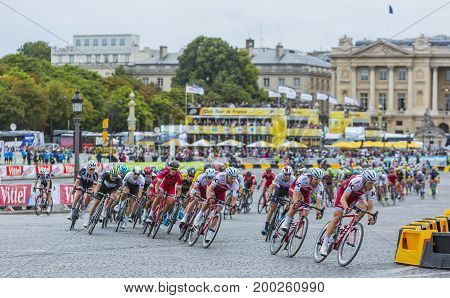 Paris France - 23 July 2017: The peloton riding in Place de la Concorde in Paris during the last stage of Le Tour de France 2017.