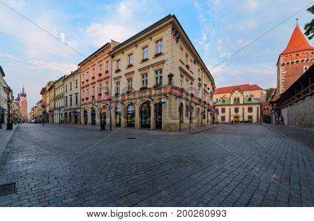 Morning summer old town of Krakow Poland. Europe.