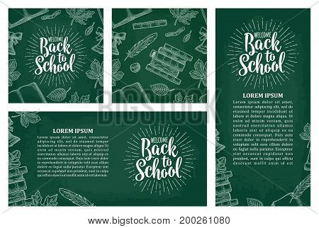 Horizontal vertical posters and seamless pattern with leaf book bell and lettering Welcome Back to School. Vector vintage engraving illustration on dark background