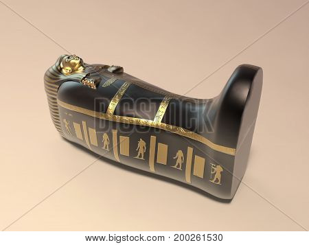 3d illustration of an ancient egyptian coffin