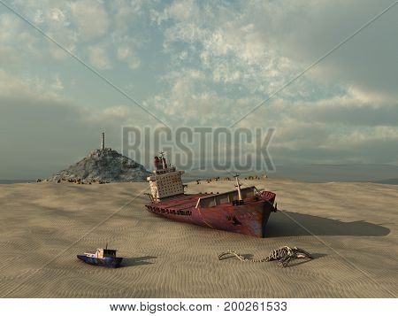 3d illustration of a dry sea with old boats