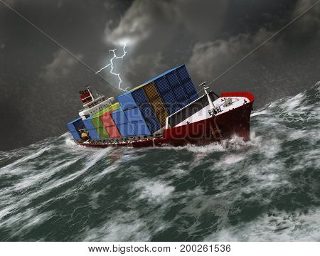 3d illustration of a freighter ship in a marine storm