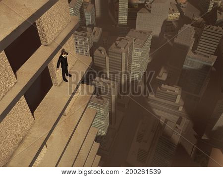 3d illustration of a man on the ledge of a skyscraper