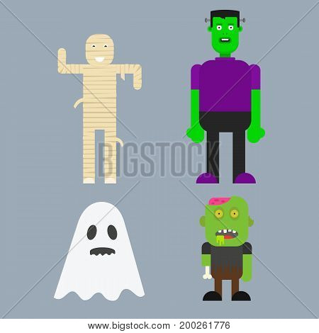 Halloween character design. Flat Cartoon Characters. Vector illustration of a flat design