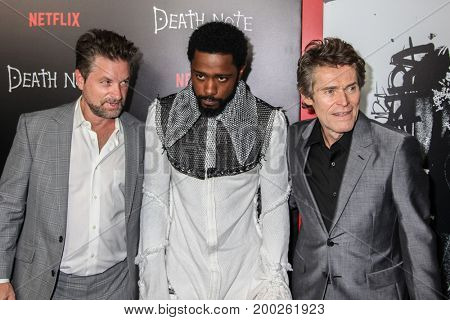 NEW YORK, NY - AUGUST 17: (L-R) Actors Shea Whigham, LaKeith Stanfield and Willem Dafoe attend the 'Death Note' New York premiere at AMC Loews Lincoln Square 13 theater on August 17, 2017 in New York.