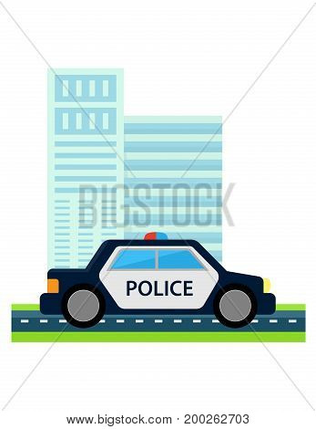 police car with office build. City safe from terrorism concept icon