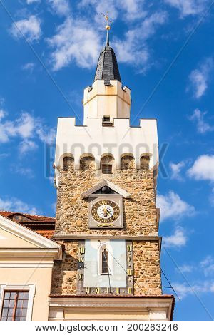Town hall at old market square of Lobau in Saxony Germany