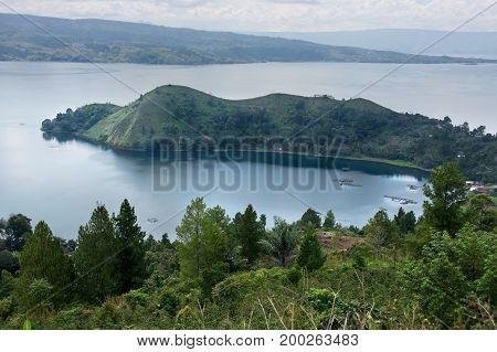 High Panoramic View Of The Green Bay At Samosir In Sumatra, Indonesia