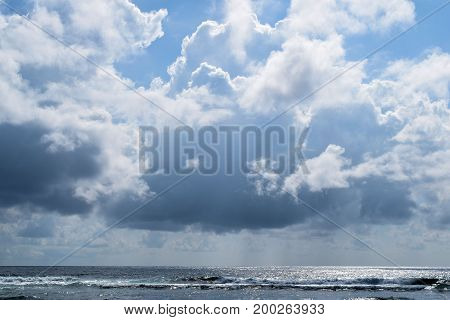 Tropical cumulus clouds taken over the ocean taken in Kauai, HI