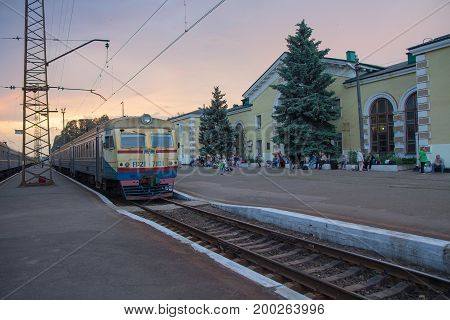 Konstantinovka Ukraine - May 31 2017: Train and passengers at the train station of the frontline city