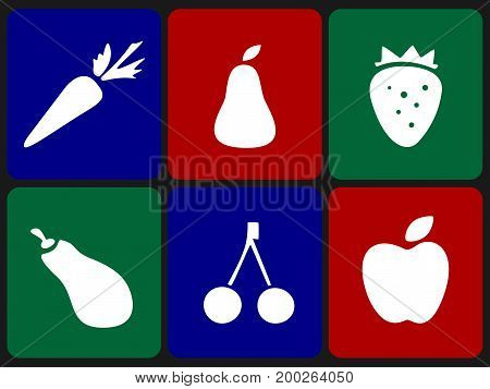 Fruits and vegetables icon set. Natural products