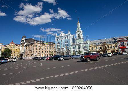 Kiev Ukraine - June 21 2017: View of the Kontraktova Square