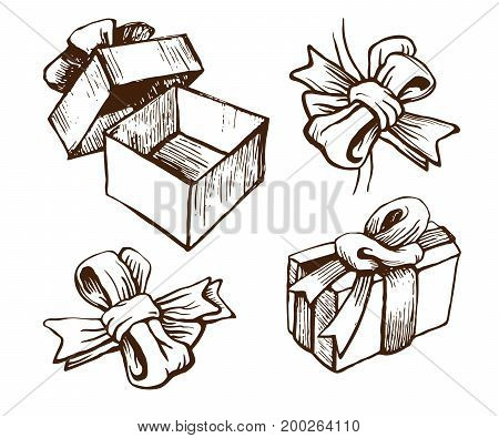 Gift boxes with ribbons and bows. Vector sketch set. Hand drawn retro style.