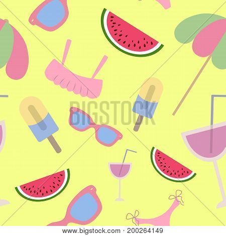 Beach seamless pattern. Summer accessories on yellow background