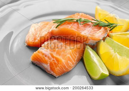 Fresh salmon fillet with rosemary and citrus fruits on plate
