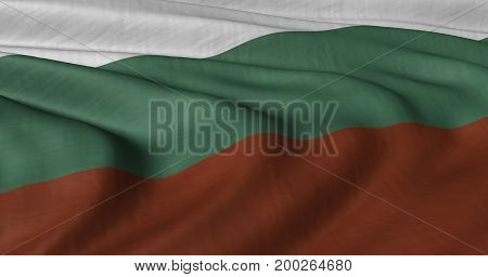 3D illustration of Bulgarian flag fluttering in light breeze