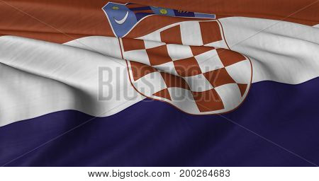 3D illustration of Croatian flag fluttering in light breeze