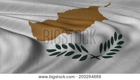 3D illustration of Cypriot flag fluttering in light breeze