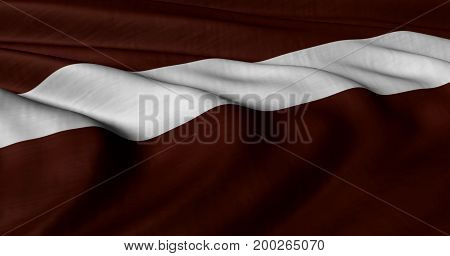 3D illustration of Latvian flag fluttering in light breeze