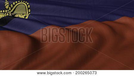 3D illustration of Liechtenstein flag fluttering in light breeze